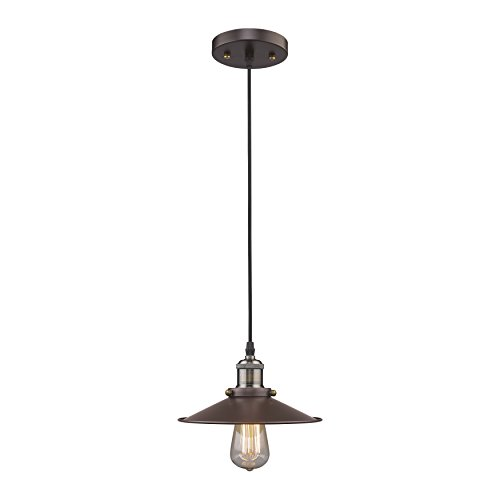 MICSIU Vintage Ceiling Light Fixture Antique Industrial Pendant Lighting with Edison Bulb 60W for Home, Kitchen, Bar, Cafe, Restaurant, Barn. Oil Rubbed Bronze, Metal Shade. by MICSIU