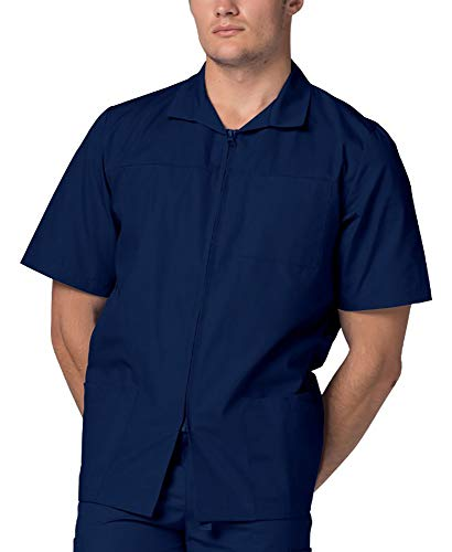 Adar Universal Men's Zippered Short Sleeve Jacket (Available in 7 Colors) - 607 - Navy - -
