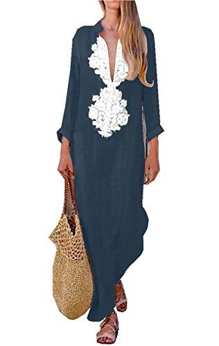 Asskdan Women's Floral Printed Cotton Linen Long Sleeve Solid Loose V Neckline Boho Long Dress Kaftan Casual Dress (M, Dark - Patterned Linen
