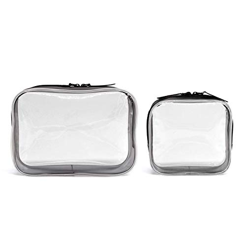 Clear Toiletry Makeup Bags, PVC Plastic Travel Cosmetic Bag with Zipper (Mini Size, 2 Pack)