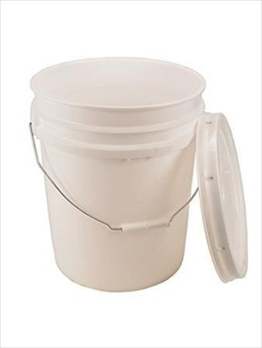 5 Gallon White Bucket & Lid - Durable 90 Mil All Purpose Pail - Food Grade - BPA Free Plastic - by Living Whole Foods