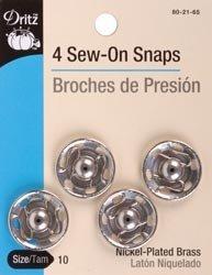 Bulk Buy: Dritz Nickel Sew On Snaps Size 10 4/Pkg 80-21-65 (3-Pack) by Dritz