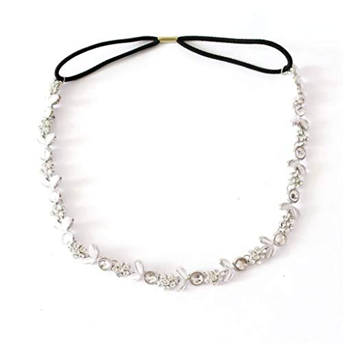 Ladys Silver Plated Crystal Flower Elastic Hair Band - Silver Plated Grapevine