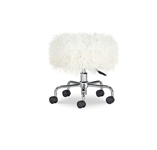 Linon Home Décor Adison White Faux Fur Stool (Fur Stool)