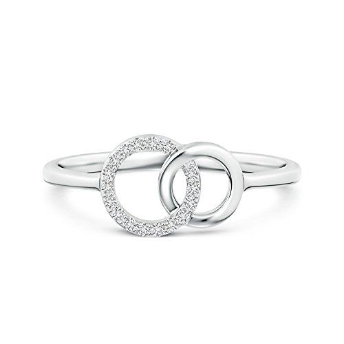 Lab Grown Diamond Double Interlocking Circle Ring in 14k White Gold