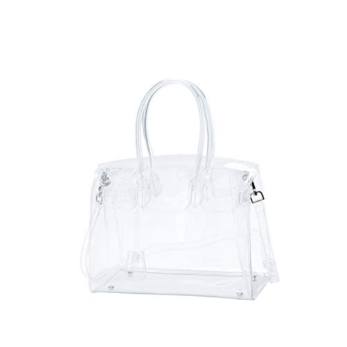 Torostra Fashion Clear PVC Purse Bags for Womens See Through Plastic Bag for Working Waterprof Transparent Handbags