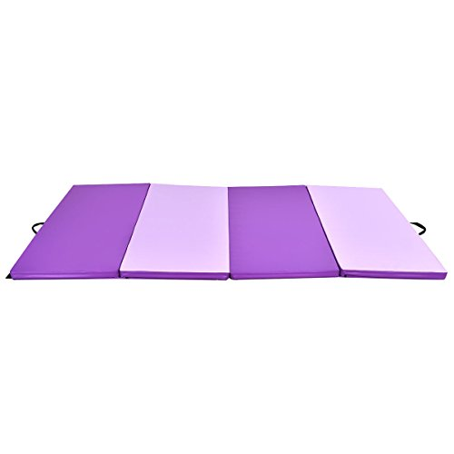 Exercise Mat 4'x10'x2 Gymnastics Folding Panel Thick Gym Fitness PurplePink with Ebook