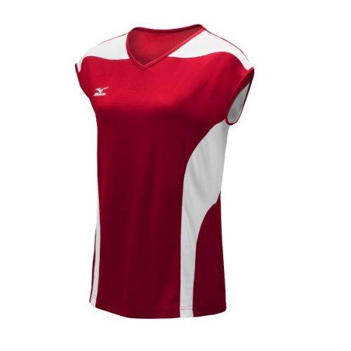 Pullover Red Mizuno (Mizuno Women's Performance Cap Sleeve G3 Jersey, Red/White, Medium)