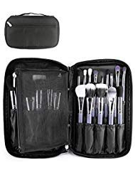 MONSTINA Professional Cosmetic Makeup Brush Organizer Makeup Artist Case with Belt Strap Holder Cosmetic Makeup Bag Handbag (Black)