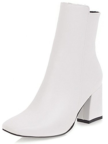 Aisun Women's Simple Dressy Inside Zip Up Square Toe Booties Block Mid Heels Ankle Boots with Zipper...