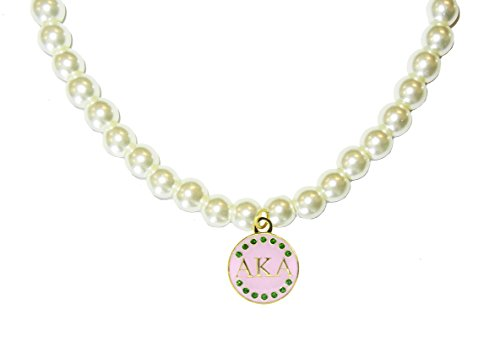 Navika Pink & Green Signature Alpha Kappa Alpha (AKA) Pearl Necklace- Gold Plated with Swarovski (Swarovski Crystal Pearl Necklace)