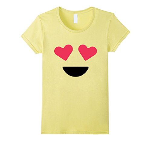 Meme Halloween Costume Ideas (Womens Smiling Face With Heart Eyes Emoji T Shirt Costume Small Lemon)