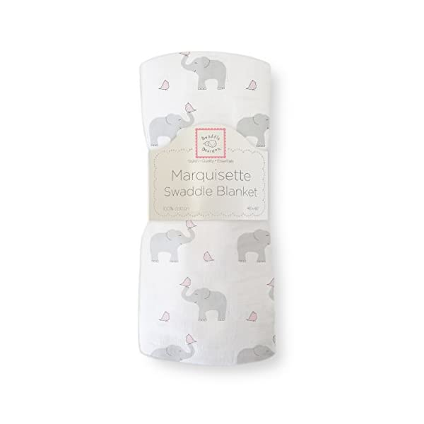 SwaddleDesigns Marquisette Swaddling Blanket, Premium Cotton Muslin, Elephant and Pastel Pink Chickies