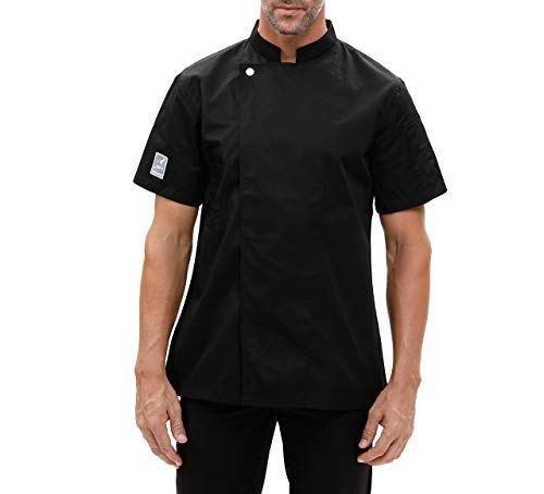 Chef Coat Jacket Works Short Sleeve Single-Breasted Men Black (Label:L - US:S) (Black Label Coat)