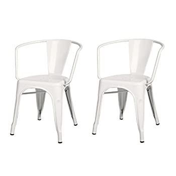 2016 NEW ARRIVAL! Metal Stackable Industrial Chic Dining Bistro Cafe Side Chairs, Off White, Set of 2