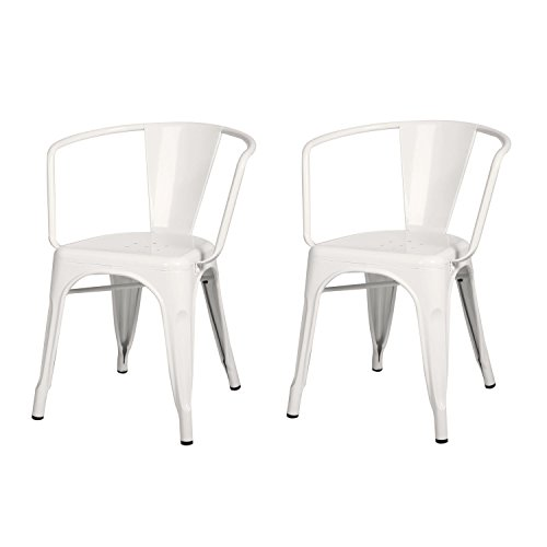 Adeco Metal Stackable Industrial Dining Bistro Cafe Side Chairs with Arm - White - Set of 2