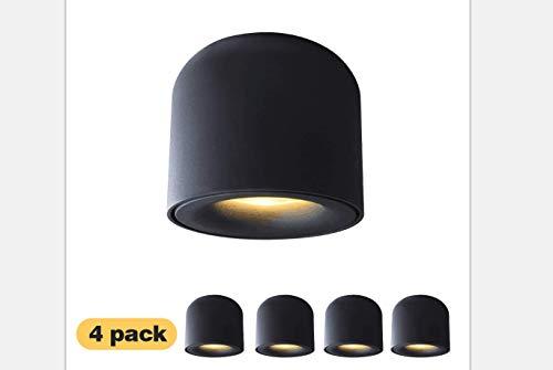 4 Packs! Aisilan LED COB Ceiling Spots Accent Light Surface Mounted Downlight 7W 3000K Warm White Black Aluminum Spotlight for Hallway Corridor Gallery Display Kitchen Living Room MTD128-B-3K-7W X4
