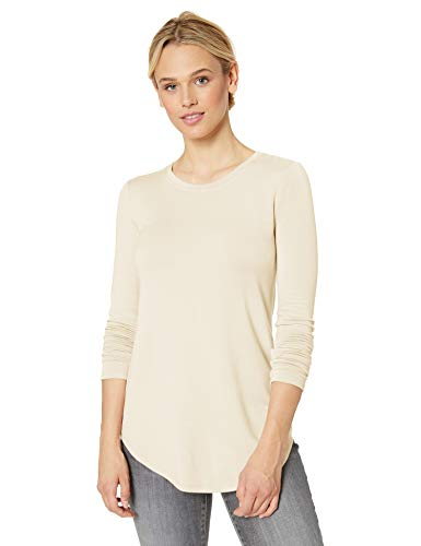 Amazon Brand - Daily Ritual Women's Supersoft Terry Long-Sleeve Shirt with Shirttail Hem, Cream,Small (Best Selling Clothing Brands)