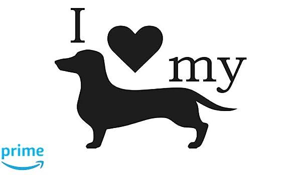 I LOVE MY WIENER Sticker Funny Car Decal Heart Dog Vinyl Dachshund Cute Puppy