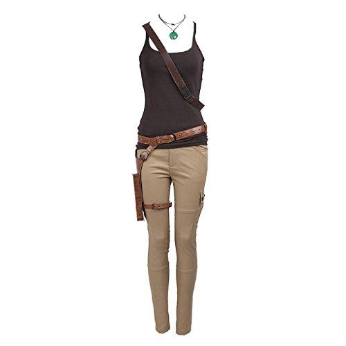 CosplayDiy Women's Suit for Tomb Raider Lara Croft Cosplay (XXXL, Green&Gray)