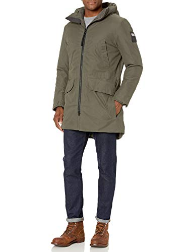 Helly Hansen Men's Calgary Hooded Insulated Winter Parka Coat Jacket, 482 Beluga, Medium (Calgary Outdoor Shops)