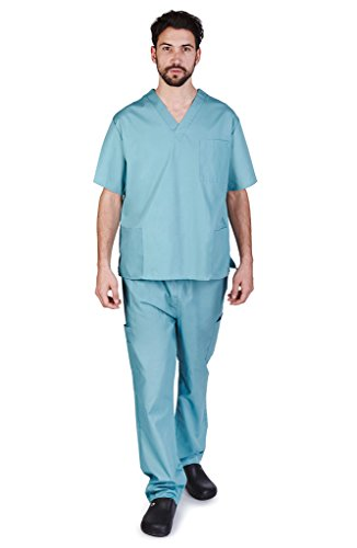 NATURAL UNIFORMS Men's Scrub Set Medical Scrub Top and Pants XS Misty Green