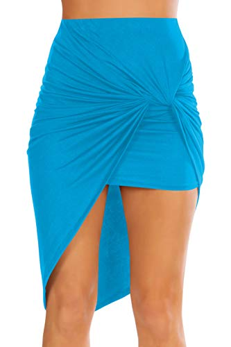 Womens Drape Up Stretchy Asymmetrical High Low Short Mini Bodycon Pencil Skirt (Size Large, Turquoise)