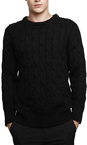 Liny Xin Men's Knitted Cashmere Wool Casual Crew Neck Long S