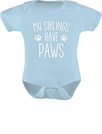 Tstars - My Siblings Have Paws Funny One-Piece Infant Baby Bodysuit Newborn Aqua