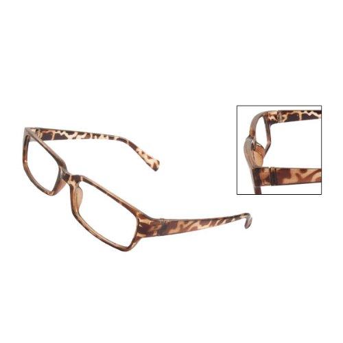 Gleader Men Women Leopard Pattern Plastic Frame Arms Clear Lens Plano - Lenses Plano
