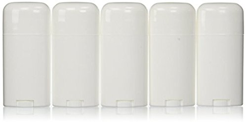 Deodorant Container Oval Empty 2.11 Ounce - Twist-Up Refillable Plastic Tube for DIY Deodorants, Pack of (5) by Yellow Brick Road ()