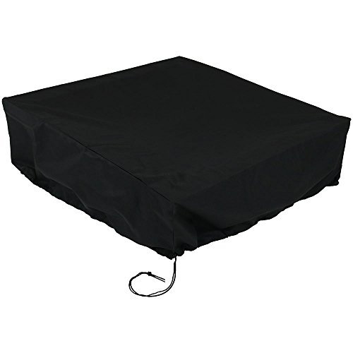 (Sunnydaze Outdoor Fire Pit Cover, Heavy Duty 36 Inch Square, Waterproof, Black)