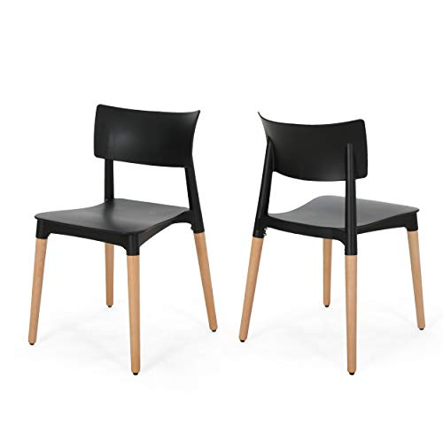 Christopher Knight Home 308949 Isabel Modern Dining Chair with Beech Wood Legs (Set of 2), Black and Natural, ()