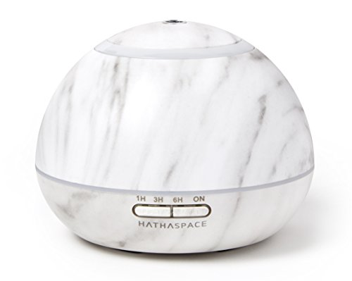 Hathaspace Marble Essential Oil Diffuser, 300ml Aromatherapy Scent Diffuser, Humidifier, & Air Purifier with Ultrasonic Cool Mist Technology, BPA-Free, 7 Color Adjustable Ambient LED Light (White)