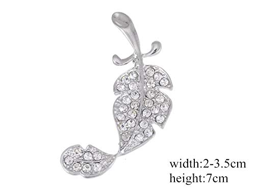 Fashion Rhinestone Crystal Alloy Flower Spider Bouquet Brooch Pin Multicolor | Style - Silver leaf ()