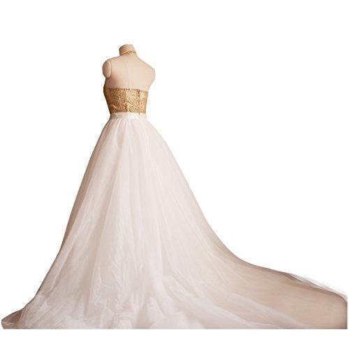 4466a34a29 flowerry Maxi Tutu Tulle Wedding Train Skirt Detachable Long Train Overskirt  M Ivory
