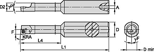 2.75 Length 0.5 Shank Diameter Steel Stepped Boring Bar WIDIA Circle CSBI20350015L CSBI Small Hole Boring Bar for Turning Left -5/° Angle