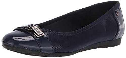 (Anne Klein Women's Able Ballet Flat Shoe, Navy Multi Fabric, 8.5 W US)