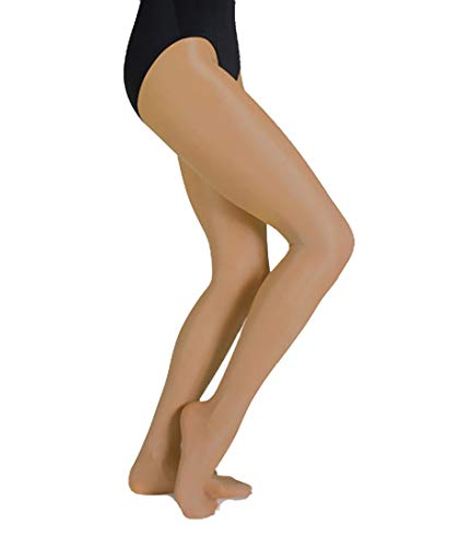 Body Wrappers Ultimate Shimmer Footed Tights, Jazzy Tan, 8-10