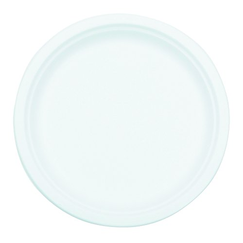 NatureHouse P005 Compostable Sugarcane Bagasse 10 Inch Diameter Plate, White, Pack of 50 by Nature House