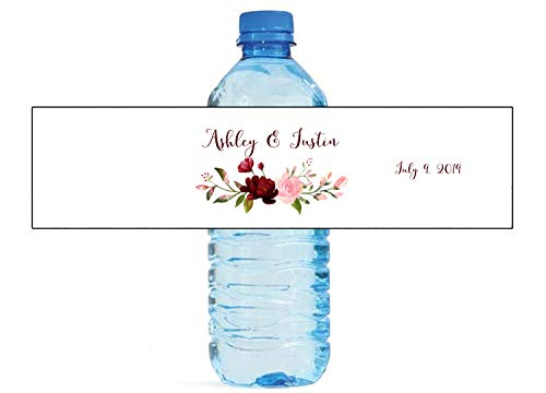 Blush & Burgandy Arrangement Themed Water Bottle Labels, Weddings, Birthday, Engagement Party, Sweet 16