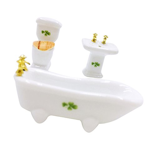 MagiDeal 1/12 Dollhouse Miniature Ceramic Bathroom Set Toilet Tub Sink 4 Leaf Grass