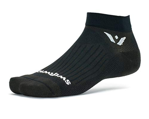 Swiftwick- ASPIRE ONE | Socks Built for Running and Cycling | Fast Drying, Firm Compression Ankle Socks | Black, Medium