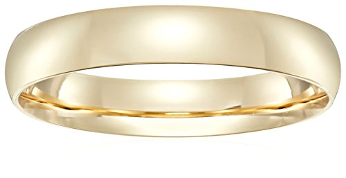 Light Comfort-Fit 14K Yellow Gold Band, 4mm, Size 9.5