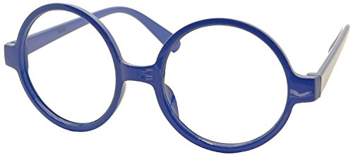 FancyG Retro Geek Nerd Style Round Shape Glass Frame NO LENSES - - Round Glasses Blue