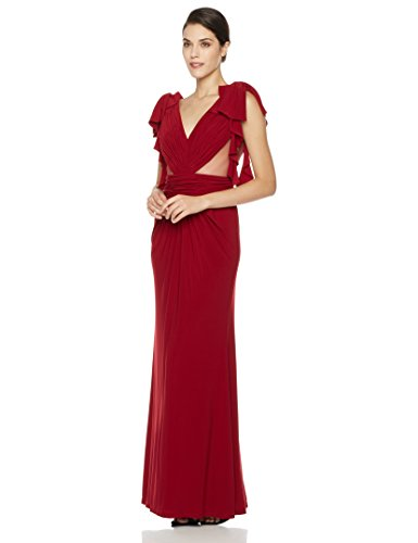 Social Graces Women's Gathered V-Neck Ruffle Sleeve Sheer Inset Gown 12 (Inset V-neck)