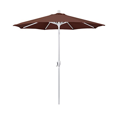 Olefin Terrace - California Umbrella 7.5' Round Aluminum Market Umbrella, Crank Lift, Push Button Tilt, White Pole, Terrace Adobe Olefin