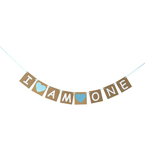 I Am One Banner For Boy - First Birthday Decorations - 1st (Birthday Banner For Boy)