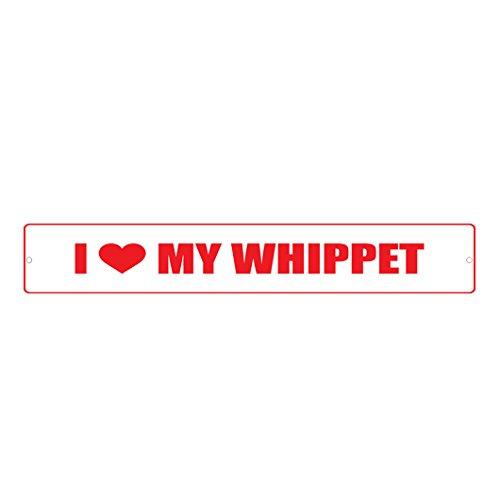 WHIPPET DOG I LOVE Street Sign DECAL Sticker 8x2