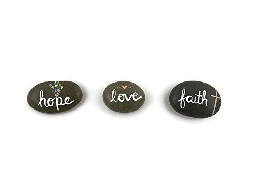 Faith Hope Love - Hand Painted Rocks - Set of 3 - Garden Decor | Garden Art | Garden Gift